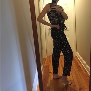 Floral tank jumpsuit, drawstring with pockets
